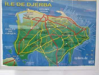 Karte von der Insel Djerba Tunesien